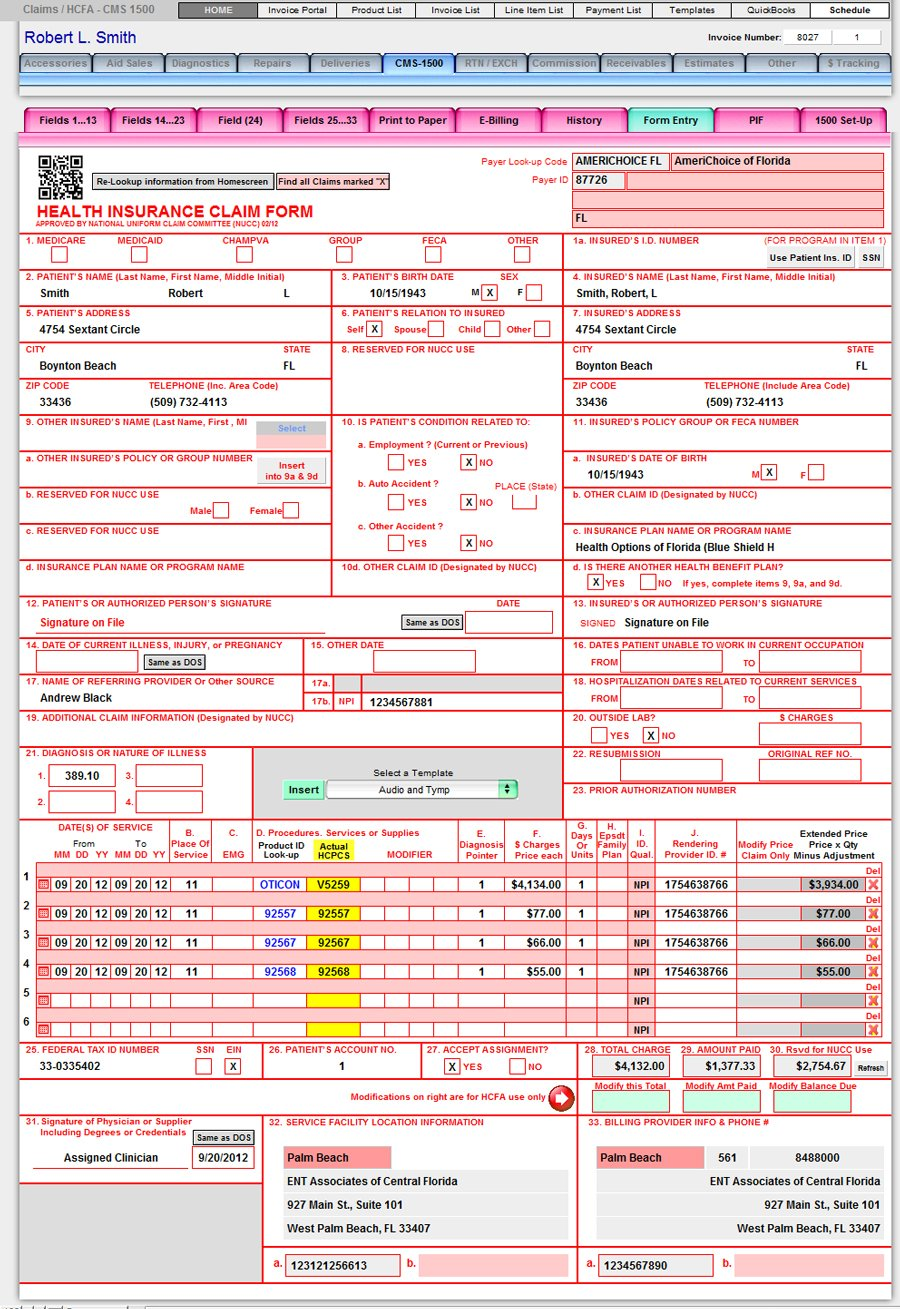 CMS-1500 (PQRS Ready) - Financial and Billing