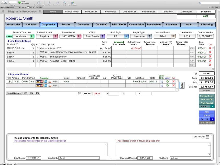 Diagnostics Screen - Financial and Billing