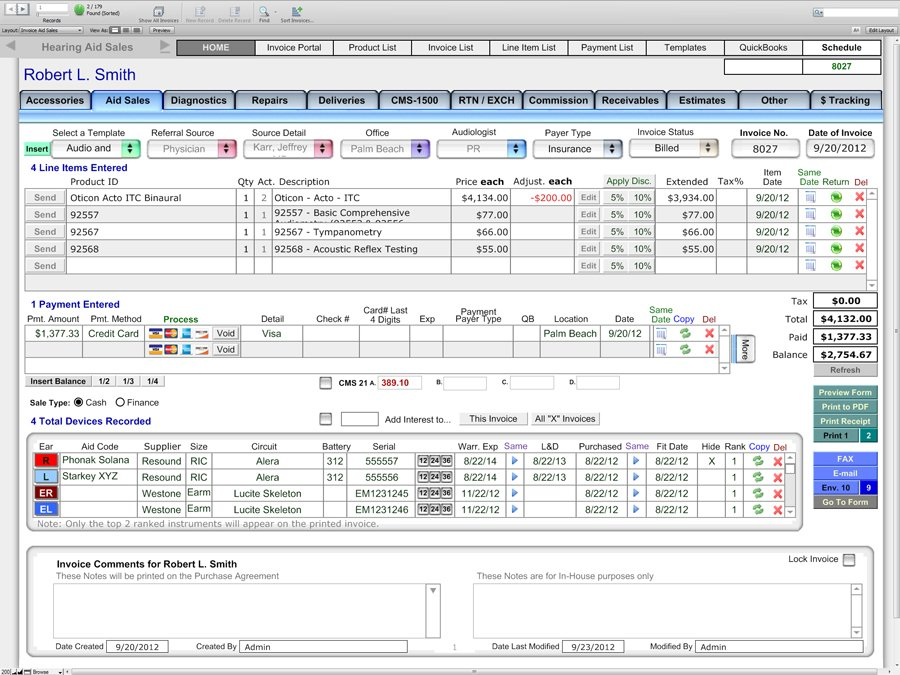 Sales Screen - Financial and Billing