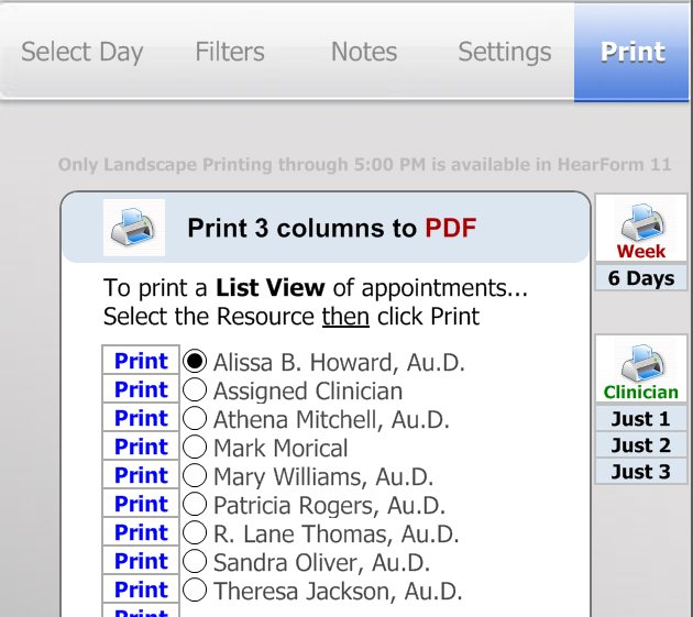 Print or PDF Schedules - Scheduling Appointments